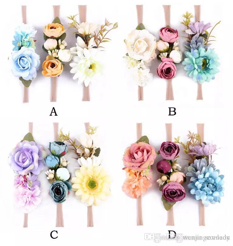 Gilrs 귀여운 버드 머리띠 녹색 나뭇잎 인공 꽃 나일론 머리띠 아기 유아 사진 아기 결혼식 액세서리 비치 꽃