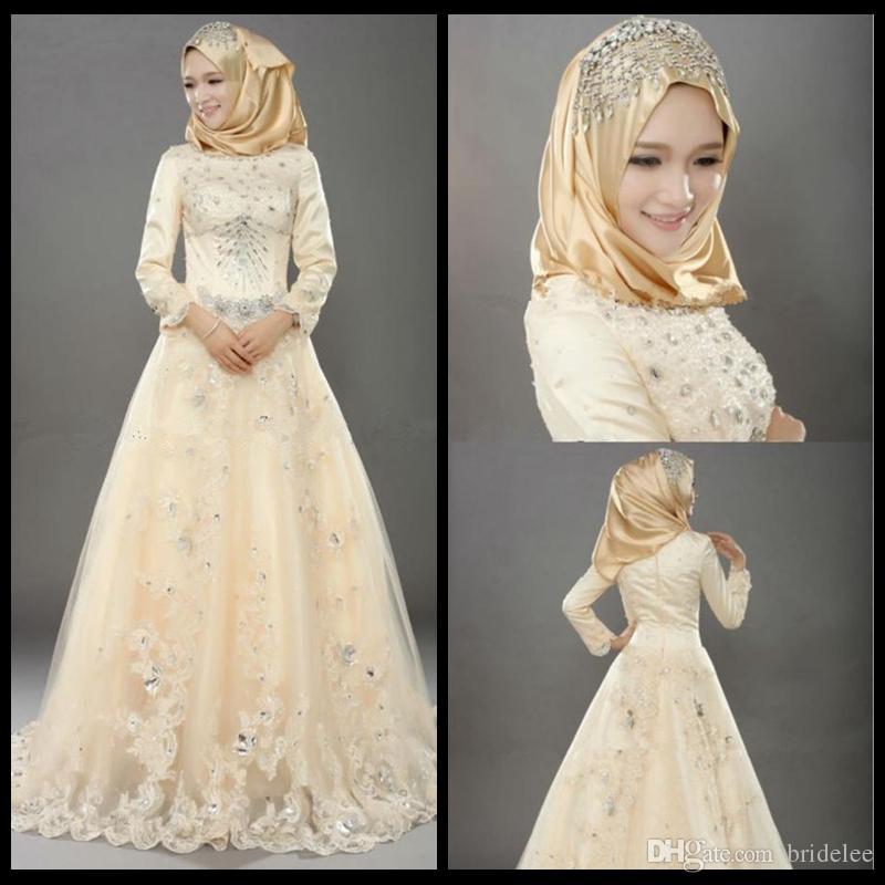 Мусульманские свадебные платья Индийский стиль винтажные из тюль свадебные платья с кружевной аппликацией хрустальные бусы с длинным рукавом исламские свадебные платья