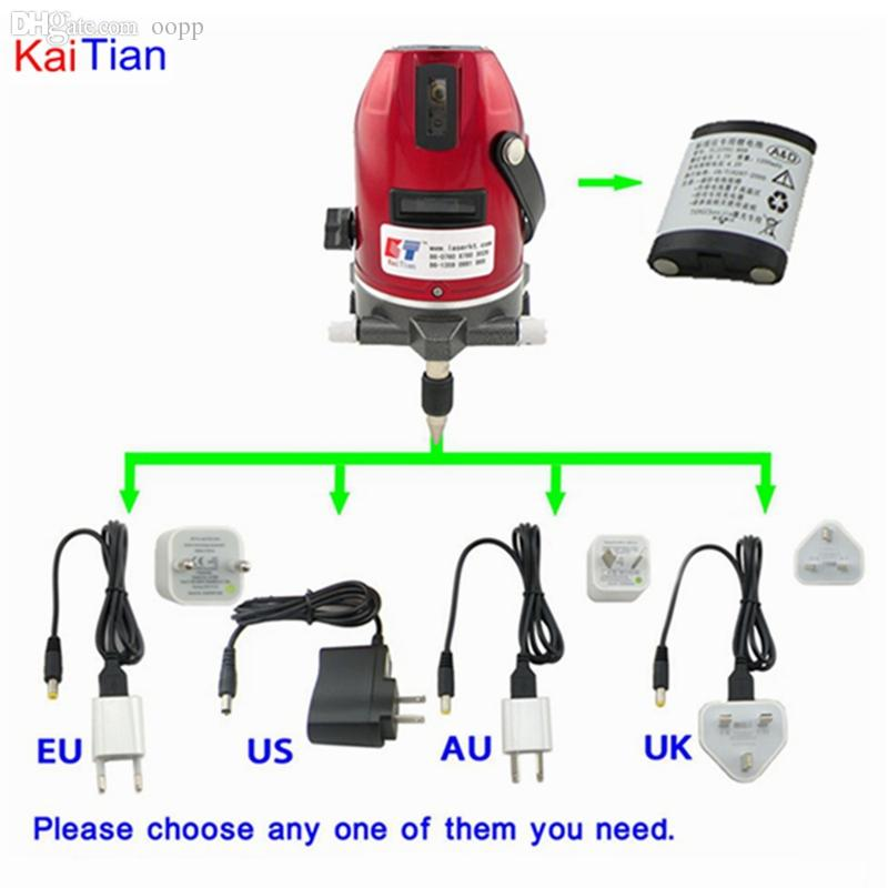 Wholesale-Kaitian مستوى الليزر الدوار مع وظيفة إمالة في الهواء الطلق اليورو التوصيل 635nm lazer مستوى 5 خط 6 نقطة مستوى التعادل الذاتي المستوى