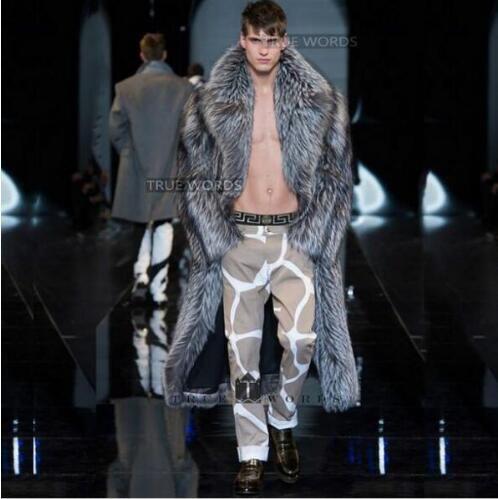 겨울 따뜻한 느슨한 열 영국 겉옷 남자 긴 트렌치 코트 villus 슈트 칼라 겨울 따뜻한 가짜 실버 폭스 모피 코트 망 가죽 자켓