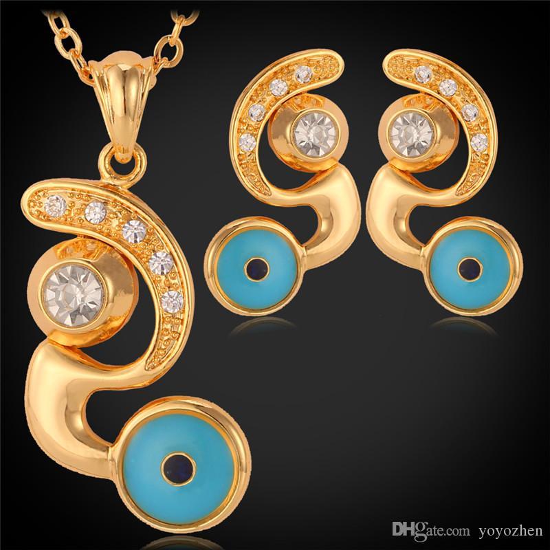 18k vergulde blauwe boze oog hanger oorbellen choker kettingen hangers vrouwen sieraden set strass sieraden