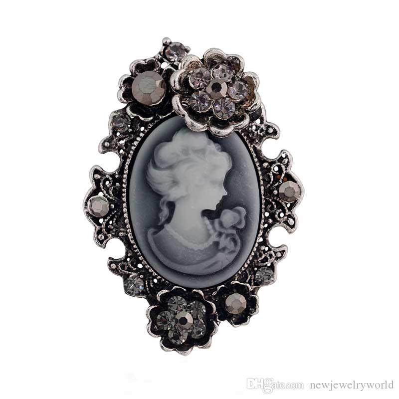 Retro Stylish Victorian Queen Lady Cameo Brooch Antique Silver Plated Beautiful Flower Cheap Brooch Pins Women Gift