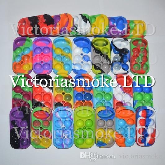 10pcs 6 + 1 Contenedor de silicona 6 + 1 Contenedor de cera de silicona caja colorida de calidad alimentaria tarro de cera de silicona reutilizable 13 colores diferentes Envío gratis