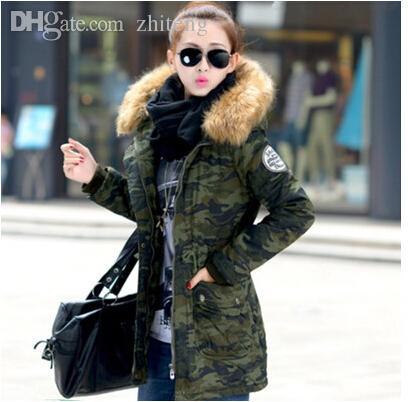 Wholesale-8 colores de invierno Parka larga de las mujeres de la chaqueta de las chaquetas de lana de abrigo de invierno mujer parka Parka las mujeres largas de la capa de Down Parkas tamaño M-4XL