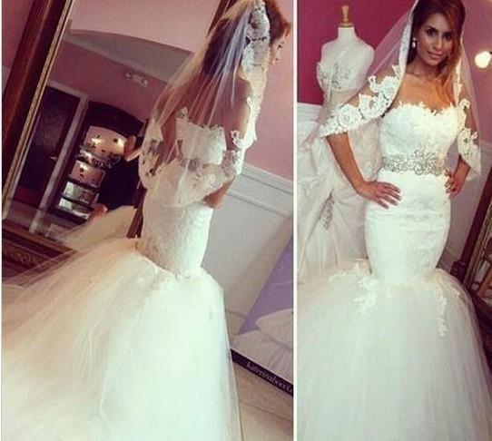 Vestido de Novia 2019 섹시한 연인 화이트 민소매 샌시 레이스 긴 인어 크리스탈 웨딩 드레스 빈티지 웨딩 드레스