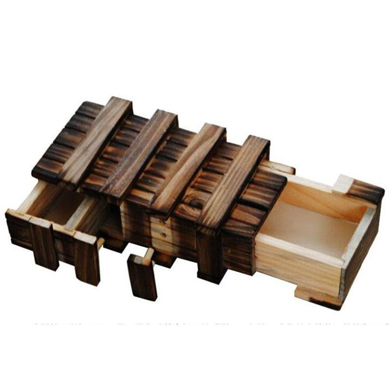 Wooden Toys Puzzle Box With Secret Wood Drawer Magic Compartment Brain Teaser Educational Toys for Children Puzzles Toy