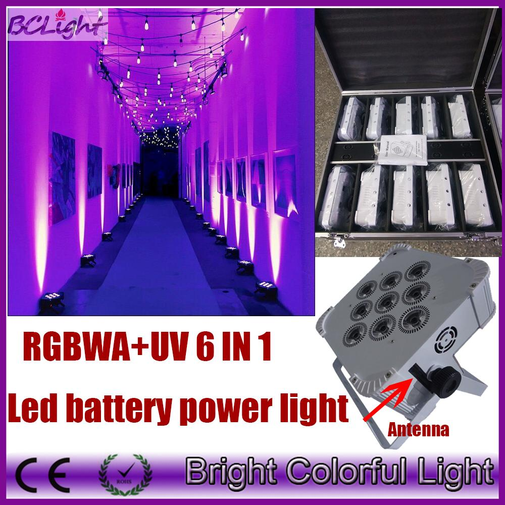 (10 pcs+1 fly case/lot) new design 9x18w RGBWAUV 6 IN1 Battery operated wireless dmx led stage light led flat par uplight