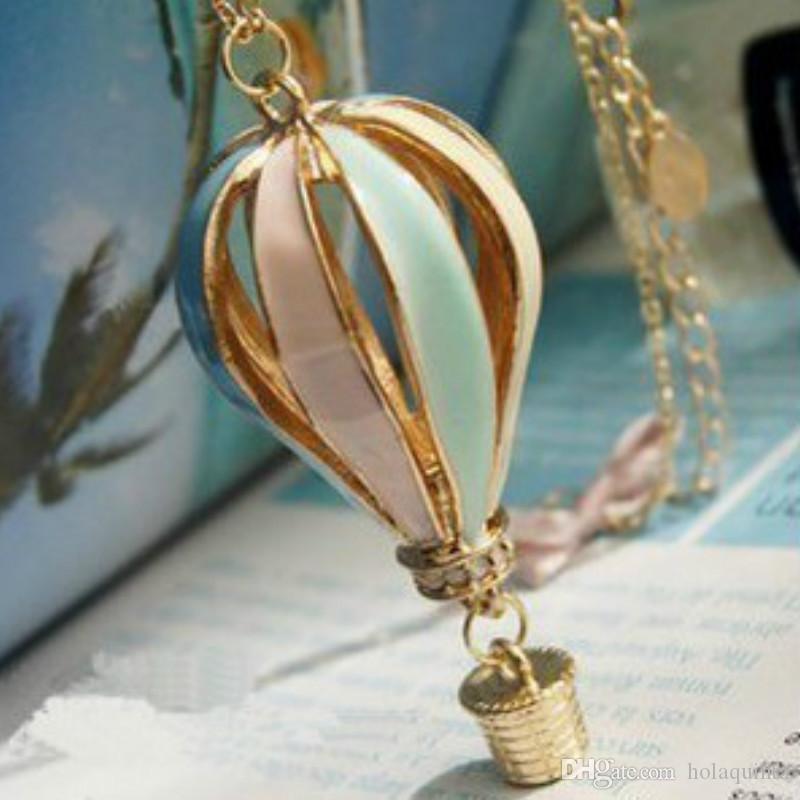 المجوهرات الأوروبية والأمريكية الملونة بالون الهواء الساخن قلادة بالجملة الآباء حلم