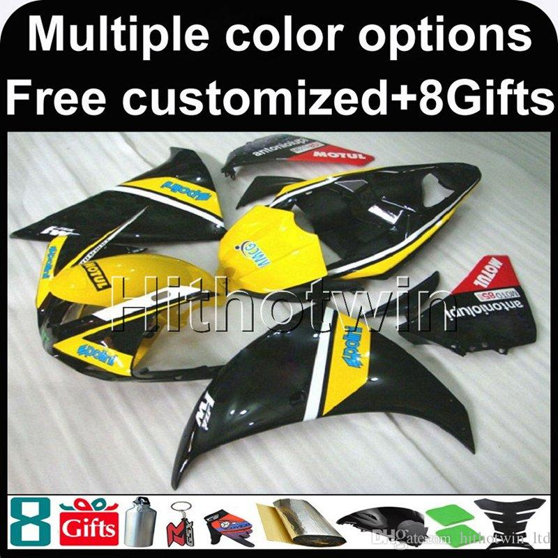 Yamaha YZF-R1 için 23colors + 8Gifts SARı SIYAH motosiklet kukuleta 2009-2011 09 10 11 YZFR1 2009 2010 2011 ABS Plastik Kaporta