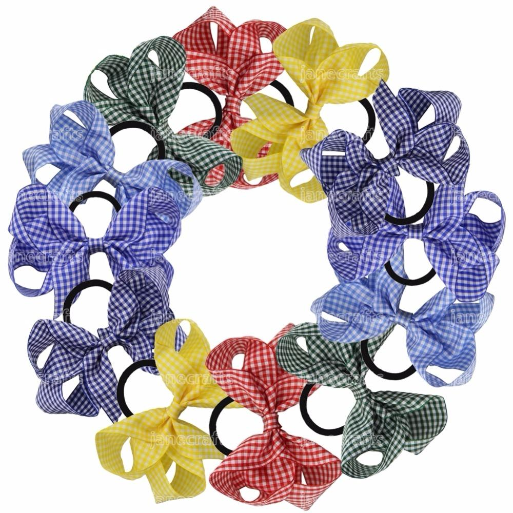 12pcs /Lot 5 Inch School Gingham Hair Bow With Elastic Hair Bands Boutique Hair Bow Ponytail Holder For Girls