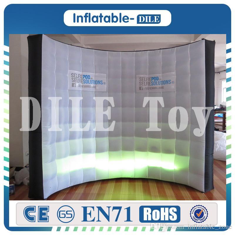 Ücretsiz nakliye kaliteli DJ sahne dekorasyon Yüksek kaliteli aydınlatma fotoğraf standında arka şişme duvarı Led