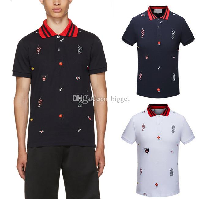 Rib knit And Cuffs Signature Multicolor Graphics Embroidered Pique Polo Trim Fit Turn Neck Polos Top Male