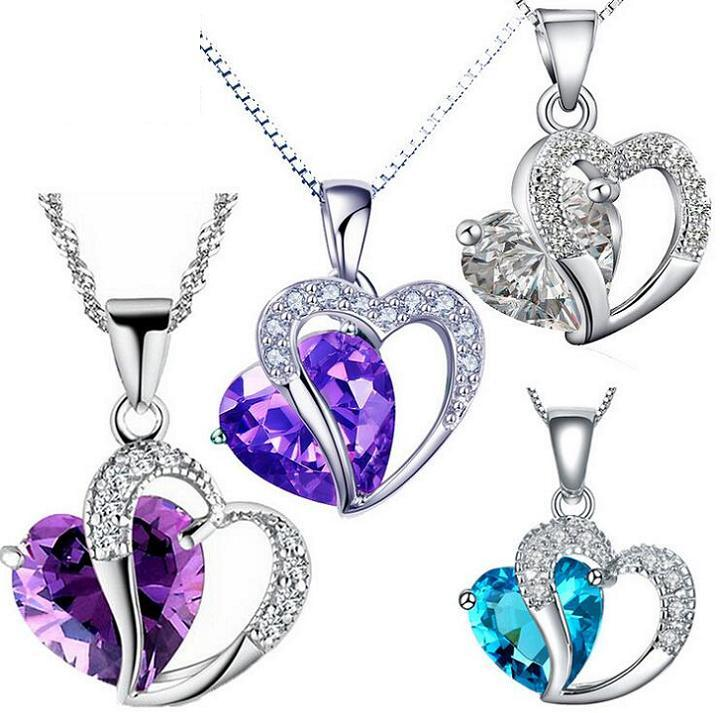 Silver Chain Necklaces Pendants Hot Sale Crystal Heart Pendant Necklace For Women Girl Party Fashion Jewelry Wholesale 0226WH