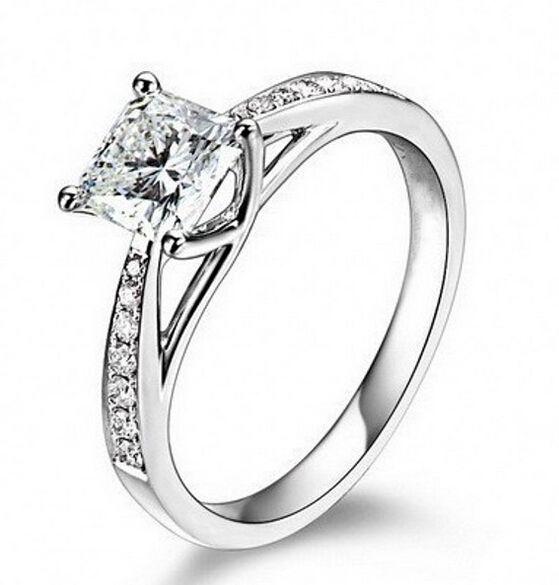 Dei monili dell'annata reale oro 14K genuino placcato 1 Ct SONA Lab anelli di diamante per le donne Aneis de diamante di nozze anelli di fidanzamento