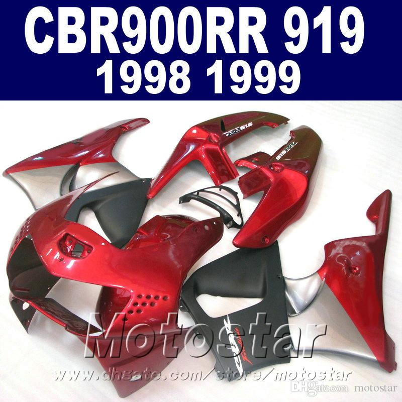 High quality fairing kit for Honda CBR900RR 1998 1999 red matte black bodywork CBR900 RR CBR919 98 99 fairings kit QD17
