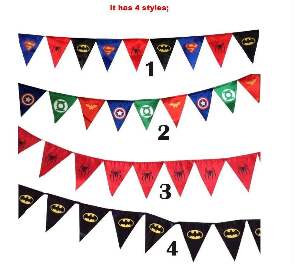 2019 New Spiderman Superman Batman Pennant Flag Banner Triangle Flag Banner  Fabric Custom Flags And Banners Christmas Garland Decoration In Stock From