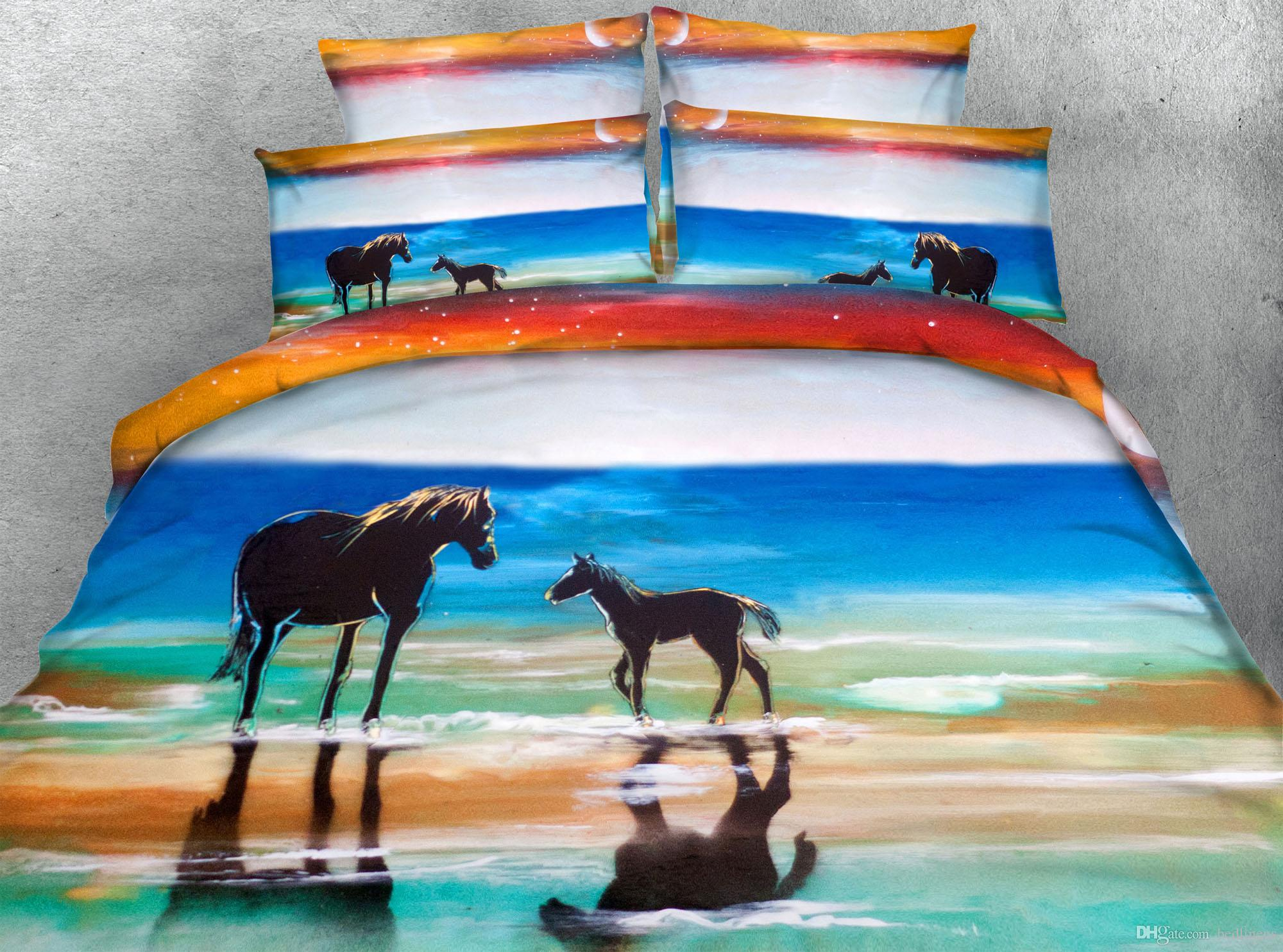 3d Ocean Horse Bedding Sets Beautiful Scenery Dovet Cover Set Twin Full Queen King Cal King Size Bedspreads Comforter Set Cheap White Duvet Cover Luxury Comforter Set From Bedlinens 129 45 Dhgate Com