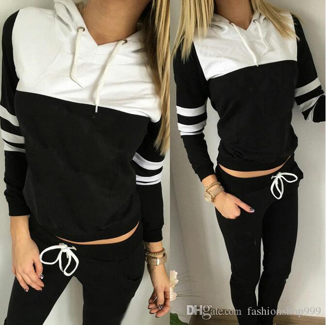 2017 frauen gruppe sport anzug frauen hoodie sweatshirt mit kapuze + freizeithose geeignet für sport fitness yoga bewegung joggen