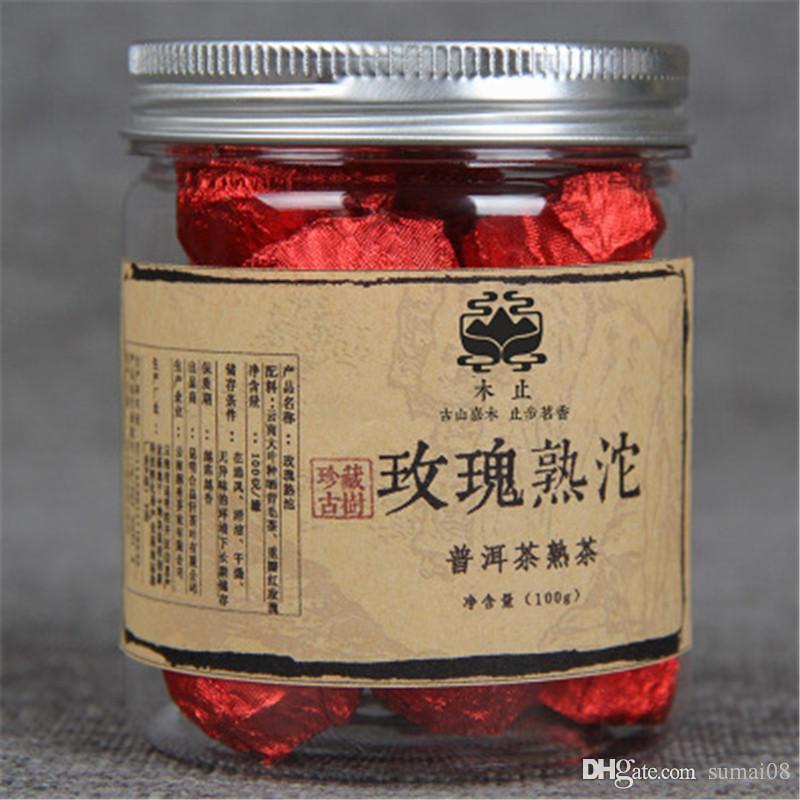 Tercih 100g Yunnan Konserve Gül kokulu Küçük Tuocha Olgun Puer Çay Organik Doğal Siyah Pu'er Çay Yaşlı Ağaç Pişmiş Puer Çay
