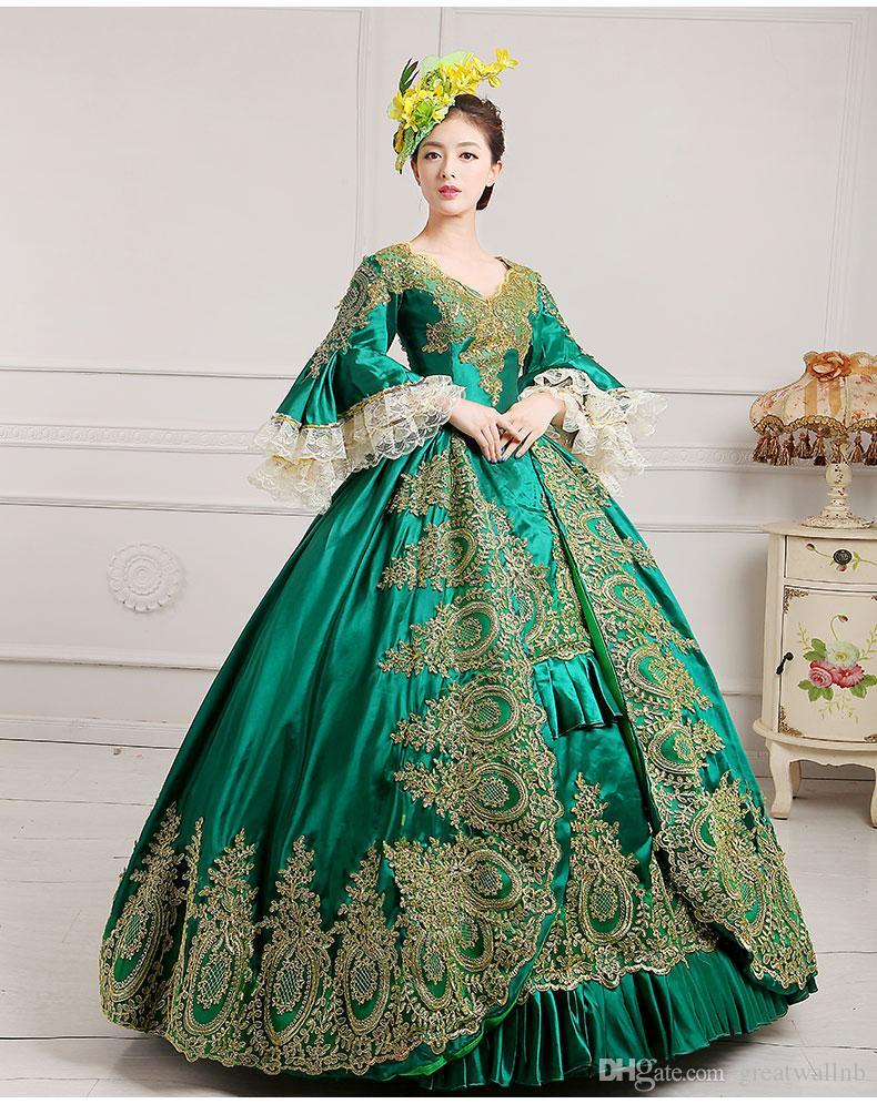 luxo bordado verde laço de ouro vestido medieval renascentista vestido de rainha vestido vitoriano / Marie Antoinette / Colonial Belle Ball