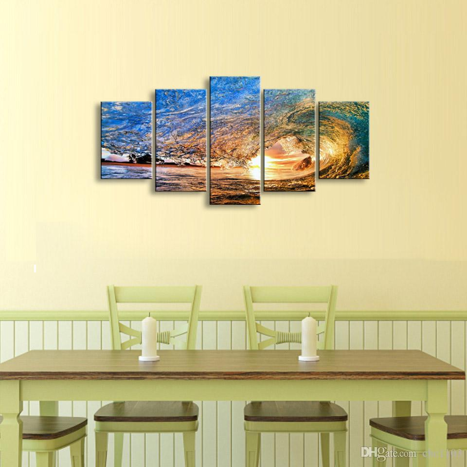 5 pieces high-definition print Waves canvas oil painting poster and wall art living room picture PL5-150