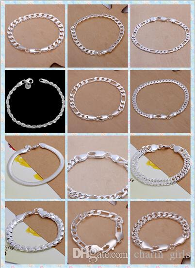 Hot sale! Fashion Bracelet Men/Boys 925 Sterling Silver Jewelry Curb/Figaro Chains Mix 10 Styles 10pcs/lot