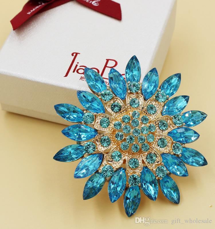 7 Colors Plated Colorful Rhinestone Crystal Diamante Large Starfish Flower Bouquet Brooch Pins 12 pcs/lot