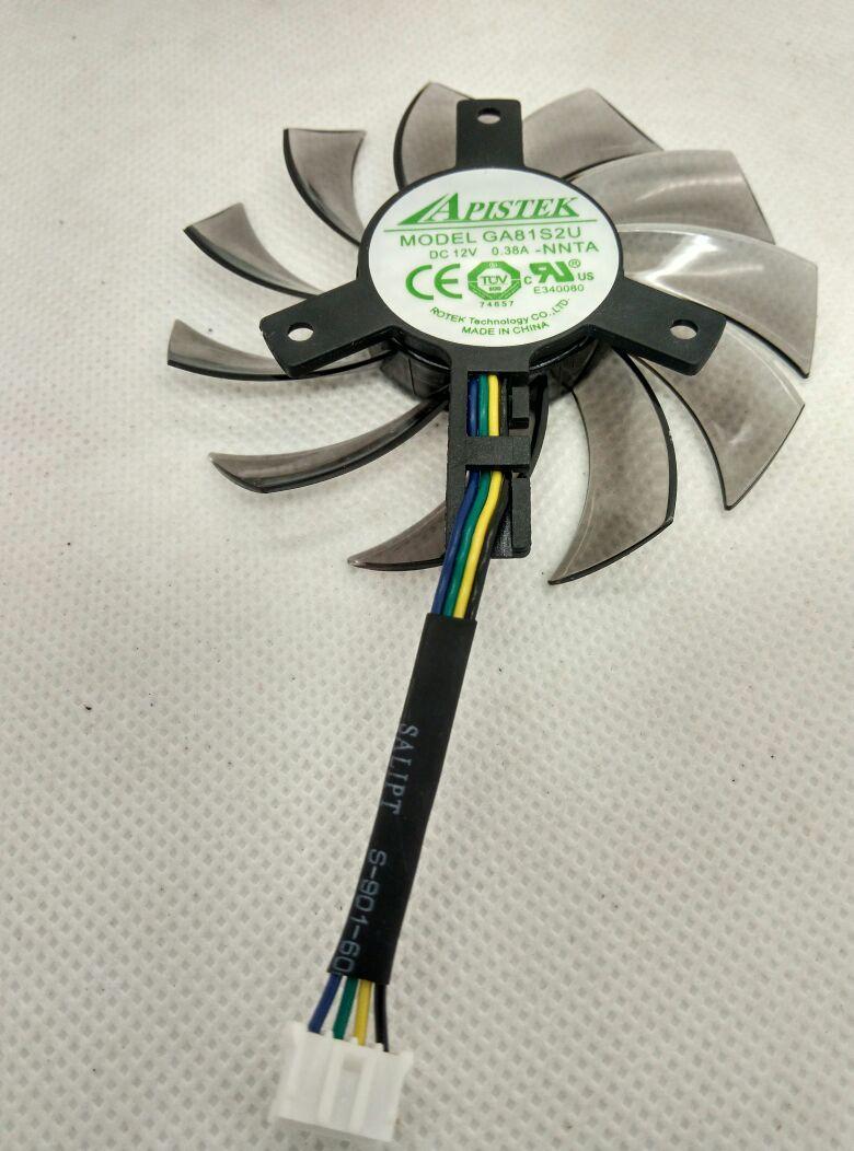 Nuevo ventilador de tarjeta gráfica Original EVEA Onda APISTEK GA81S2U DC12V 0.38A 4Wire diameter 75mm Pitch 40MM