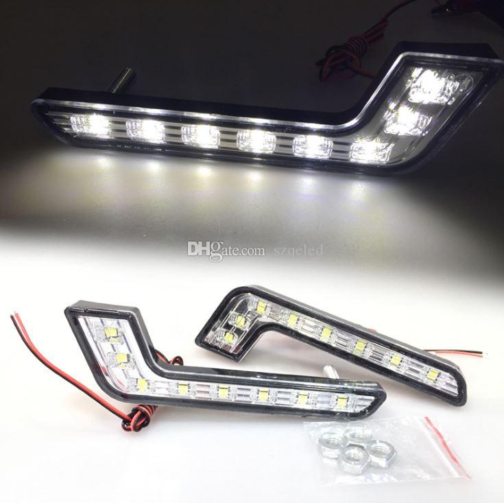 Easy Install 2Pcs 8LED DRL Daytime Running Head Lamp L shape Fog Light