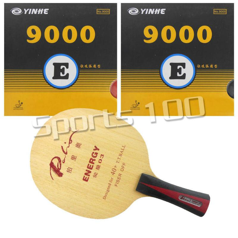 Wholesale- Pro Table Tennis Combo Paddle Racket Palio ENERGY 03 Blade long shakehand hand-FL with 2x Yinhe 9000E Rubbers
