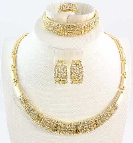 Jewelry Sets New Design Fashion Women 18K Gold/Silver Plated Necklace Bangle Earring Ring Gift Full Rhinestone Set 6pcs/lot