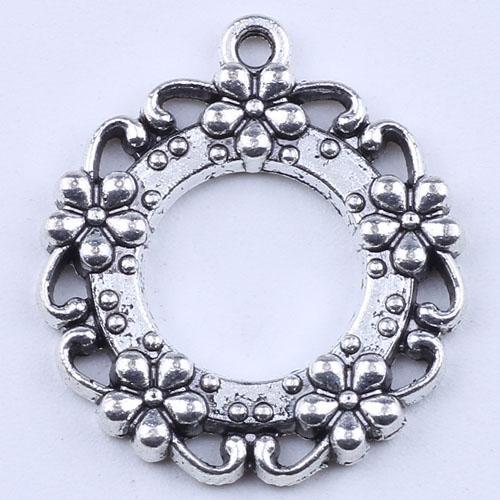 2016 DIY ювелирных изделий серебро / медь ретро круглое отверстие кулон пять сливы цветок круглое соединение fit ожерелье или браслеты 200 шт. / лот 1949c