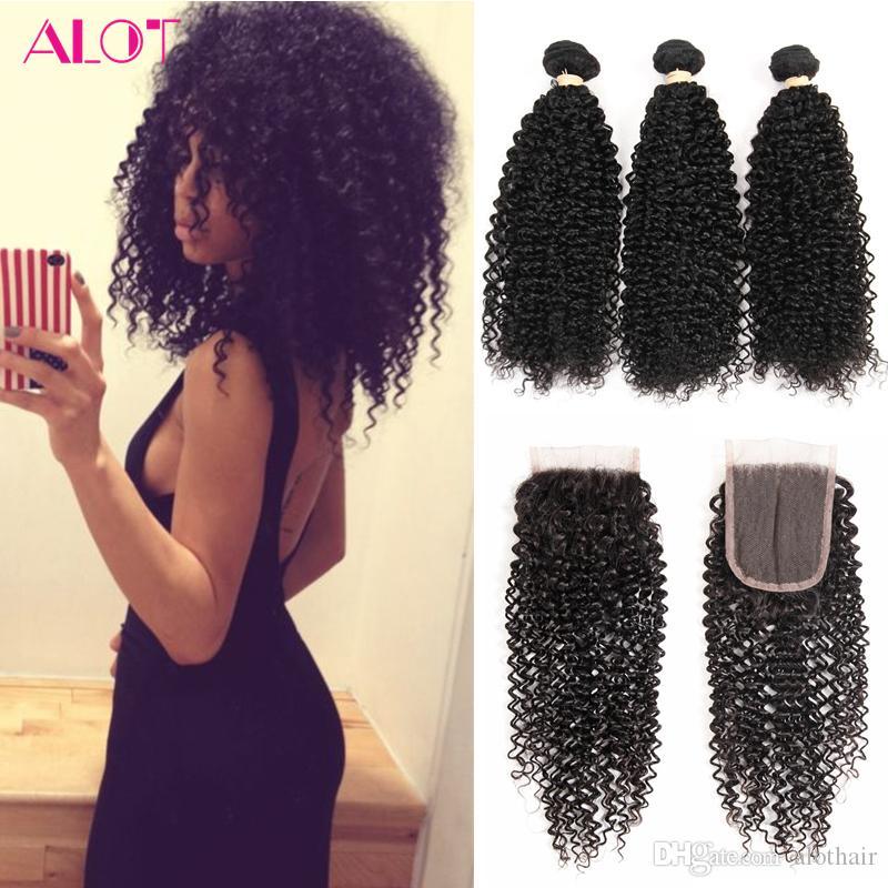 Brazilian Human Hair Bundles with Closure Kinky Curly Hair 3 Bundles with 4x4 Closure 100% Unprocessed Virgin Human Hair Lace Closure