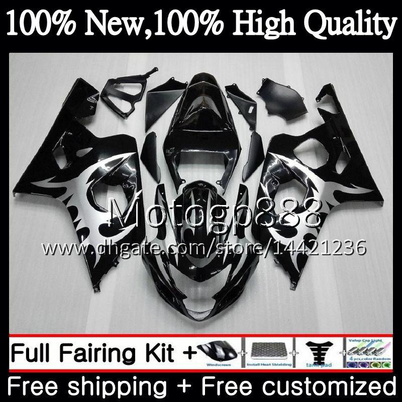 Vücut SUZUKI GSXR 750 GSX R600 K4 GSXR 600 Gümüş alev 04 05 24PG6 GSX-R750 GSX-R600 GSXR750 04 05 GSXR600 2004 2005 Fairing Karoser