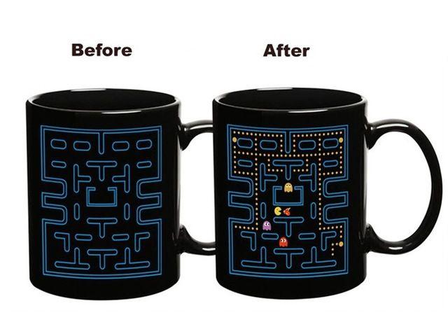Pac Man Game Heat Sensitive Color Changing Ceramic Mok Zwart + Blue One Prijs Prijs