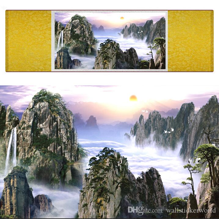 1 Piece HD Printed Mountain And River Wall Pictures Chinese Scroll Silk Wall Art Poster Picture Painting Home Decoration Wall Hanging