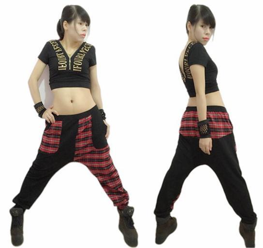 New Fashion Harem Hip Hop Dance Pants Sweatpants Jazz Stage Performance Costumes Female Plaid Patchwork Sports Trousers
