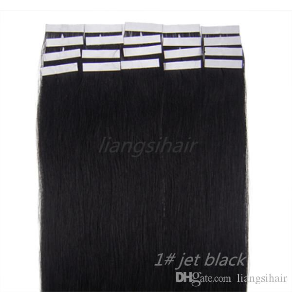 """wholesale prices 7A 18""""-26"""" 20pcs/set 1# Jet Black Brazilian Tape Skin Weft Indian Malaysian Peruvian Virgin Remy Human Hair Extensions"""