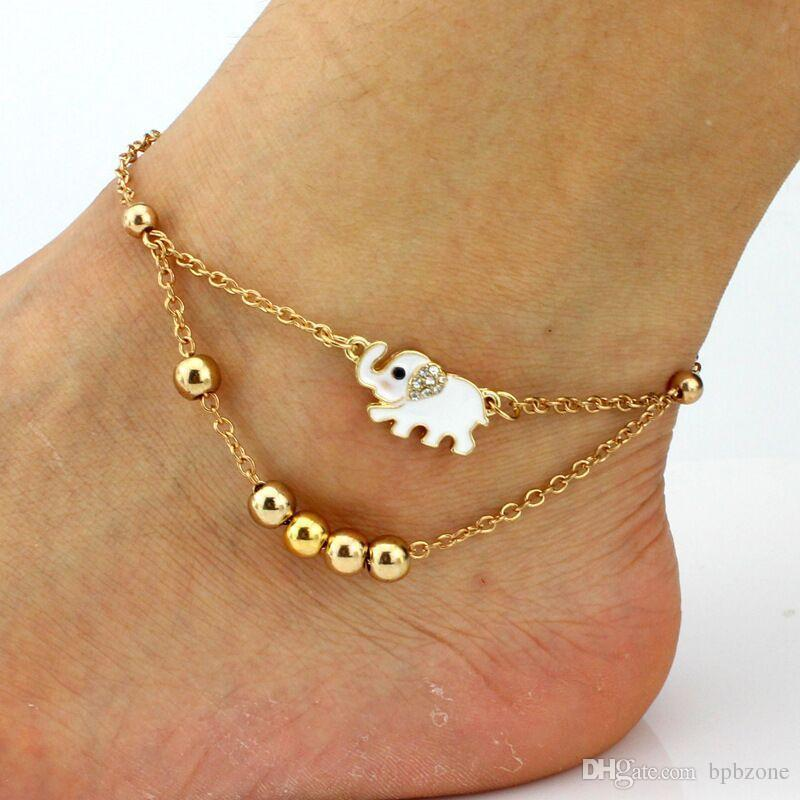 sexy rhinestones Anklets stretch slave anklet chain crystal foot jewelry high quality gold color 5.5g