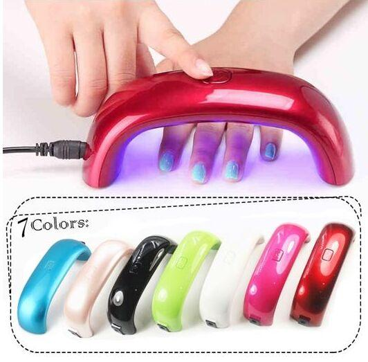 Free DHL Nail Dryers 9W LED Mini Portable Curing Lamp Rainbow Shaped Machine for UV Gel Nail Polish Art Tools Mini Nail Dryer