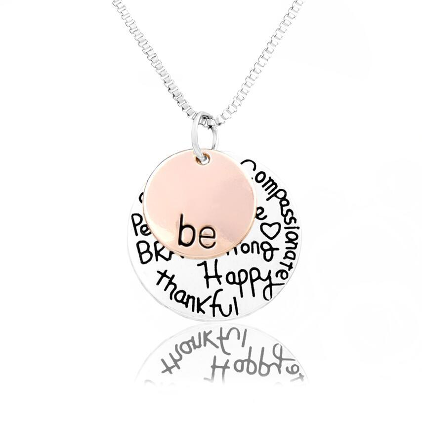 """2017 Hot sell """"Be"""" Graffiti Friend Brave Happy Strong Thankfull Charm Pendant Necklaces 24"""" NL1622/3"""
