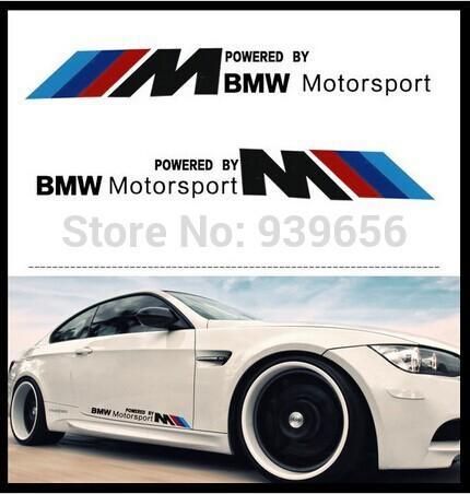 Car styling Motorsport Desempenho PVC Adesivo para BMW 3D reflexivo adesivo 55 cm carro guirlanda de carro porta e corpo decalque