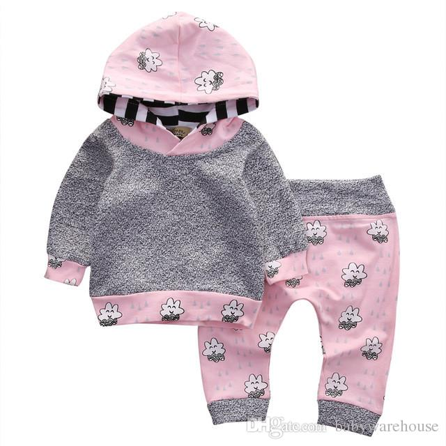 Mädchen Boutique Kleidung Baby Mädchen Kleidung Set Baumwolle Langarm T-shirt Tops Hoodie + Pants 2 STÜCKE Kinder Outfits Set Kinder Kleidung 0-24 Mt