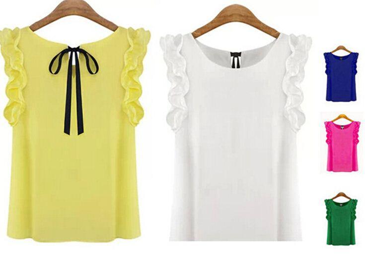 Yeni kadın Bluz 2015 Yaz Moda Lotus Yaprağı O-Boyun Rahat Gömlek Bayanlar Yay Şifon Bluzlar S-XL Beyaz Sarı Siyah Tops