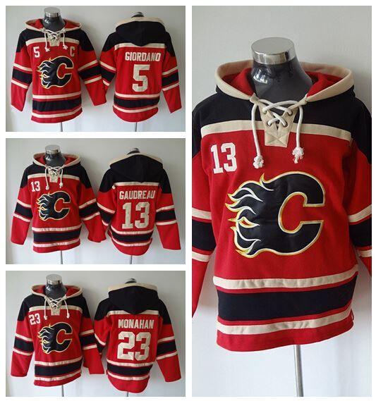 official photos 937b1 e5fb3 Cheap 23 Sean Monahan Hockey Hoodie Ice Calgary Flames Old Time Hooded 5  Mark Giordano 13 Michael Cammalleri Pullover Sweatshirt Canada 2019 From ...