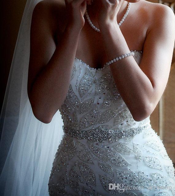 New Glaring Crystals Wedding Belts Rhinestones Bridal Sashes Cheap Beaded Crystals Wedding Sash Ribbon Belt Bridal Accessories