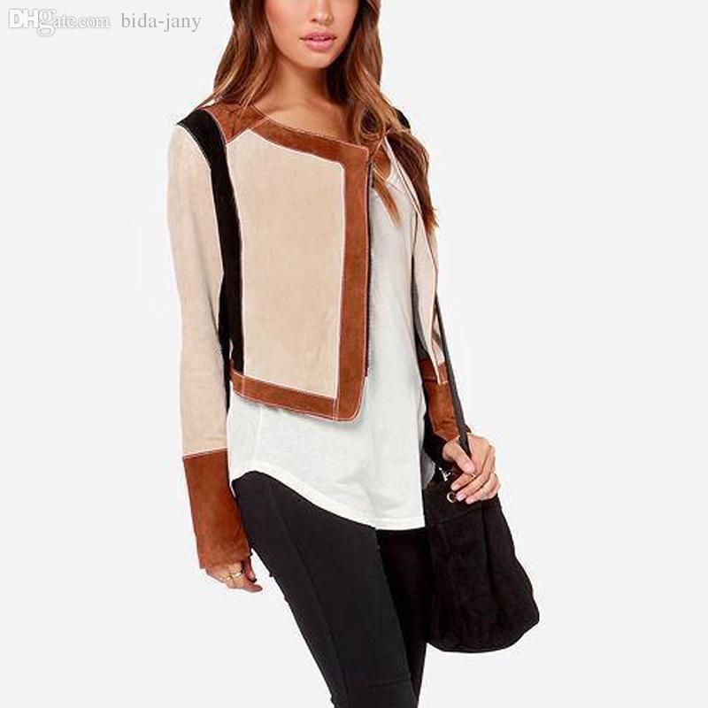 Wholesale-Uneven Zipper Patchwork Suede Fitness Short Jackets Women Leather Motorcycle Jacket Woman O-Neck Winter Coat Female SWF0156-5