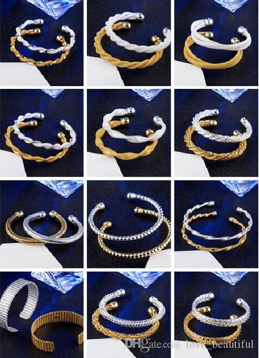 Mix 12 style Plate silver plated Gold Snake chain shape of the network Twisted rope Opening Bracele Fashion jewelry woman Bangle
