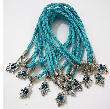 100 sztuk / partia Hamsa Hand Evil Eye Light Blue String Bransoletki Lucky Charms Wisiorek