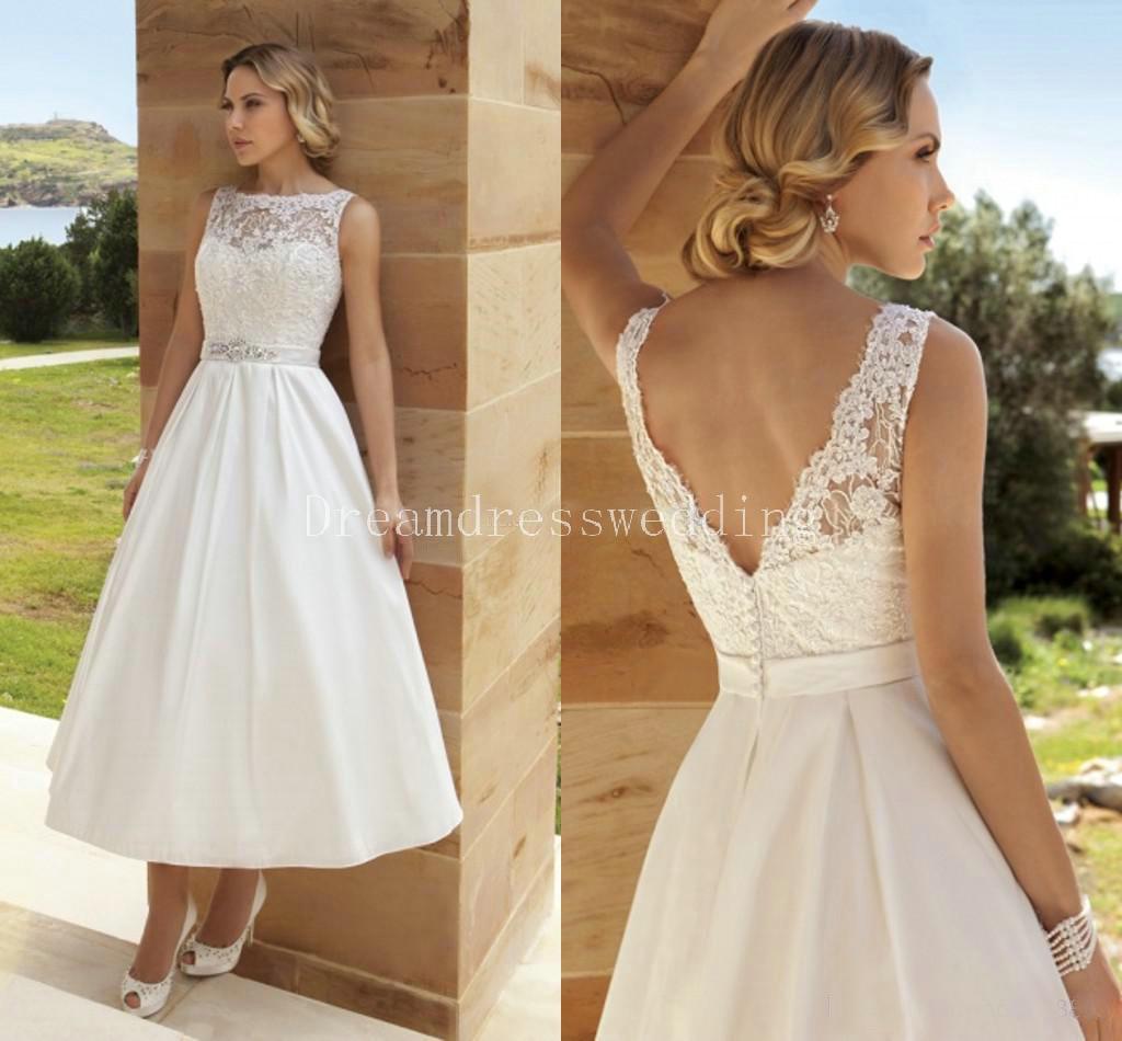 2016 Custom Made Wedding Dresses Sexy Tea Length under 100 V Neck Wedding Lace Bridal Gowns  sc 1 st  DHgate.com & Discount 2016 Custom Made Wedding Dresses Sexy Tea Length Under 100 ...